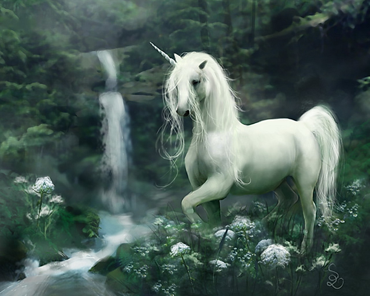 Beautiful Unicorn in a mystical fantasy world