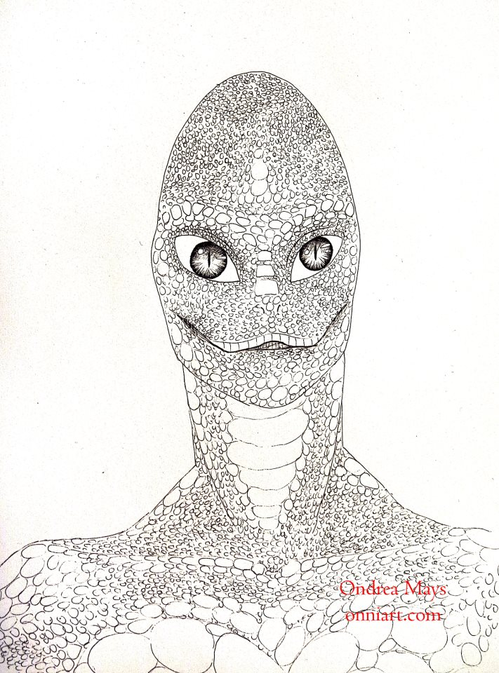 A drawing of a Reptilian Alien
