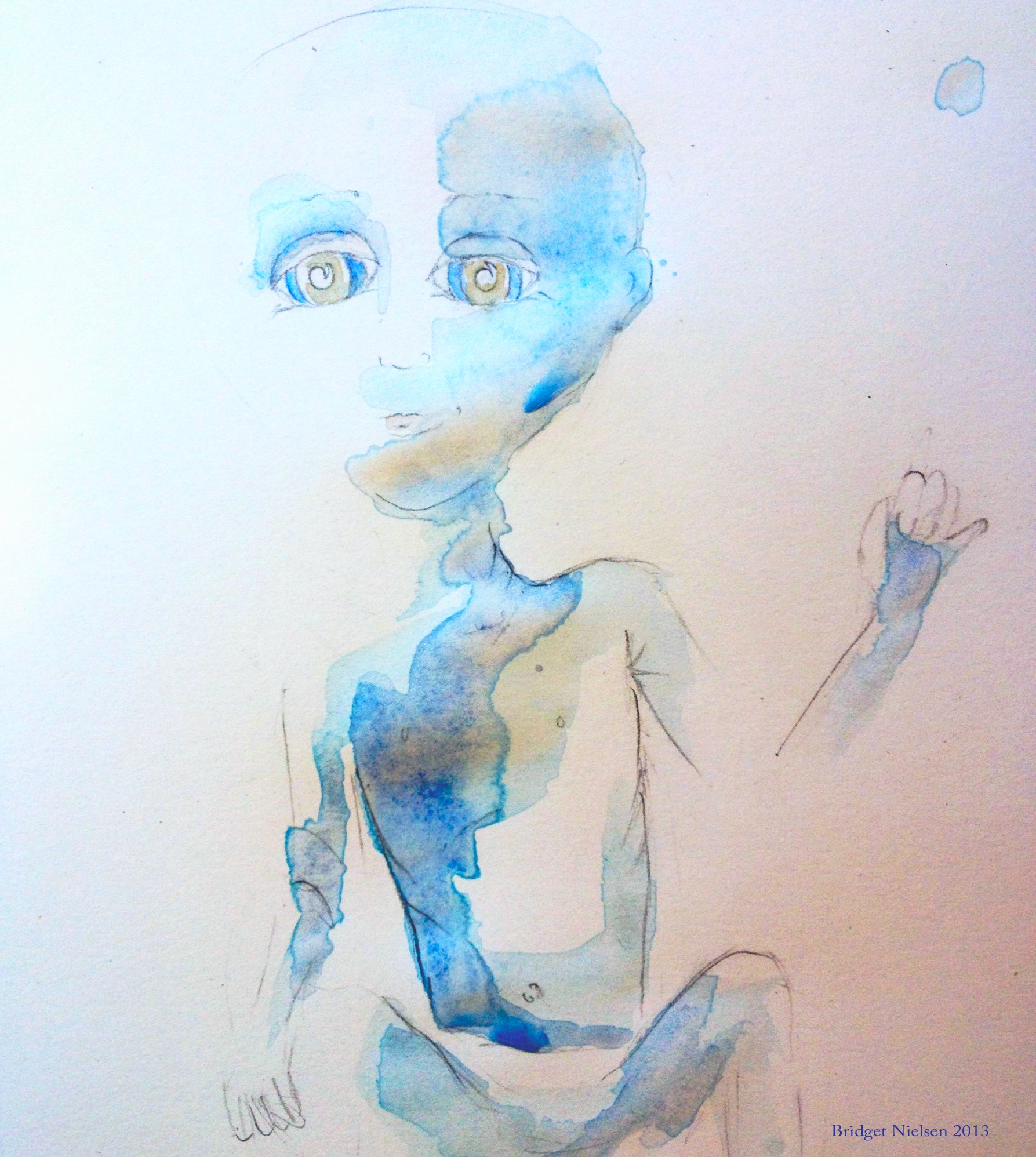 Blue Hybrid Child Painting