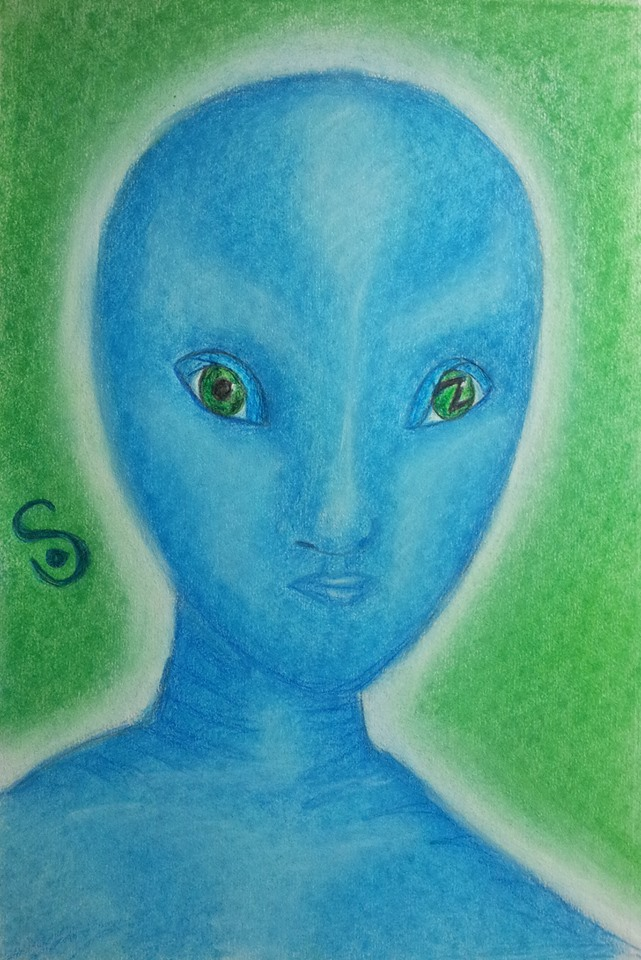 ET Being with Blue Skin and Green Eyes