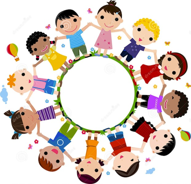 cute cartoon kids holding hands in a circle