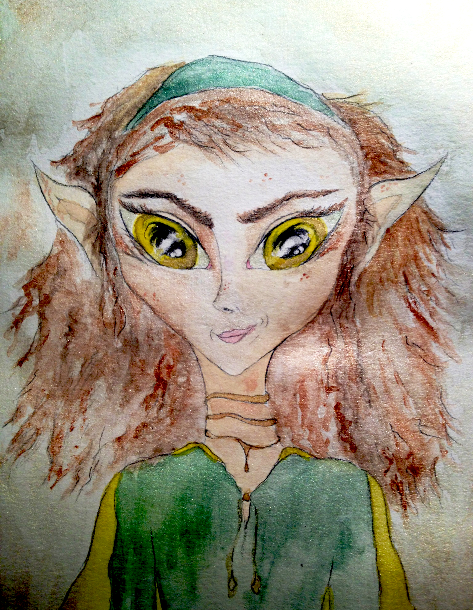 Portrait of Willa Hilliscrissing an elven alien, a human from the future.
