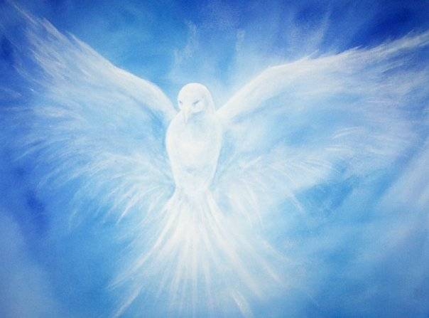 Angelic etheric painting of a white dove
