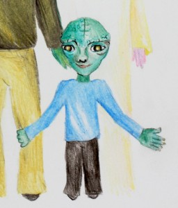 picture of small reptilian hybrid alien child