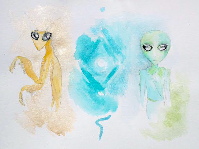 Mantis and Sirian Galactic Family by Bridget Nielsen