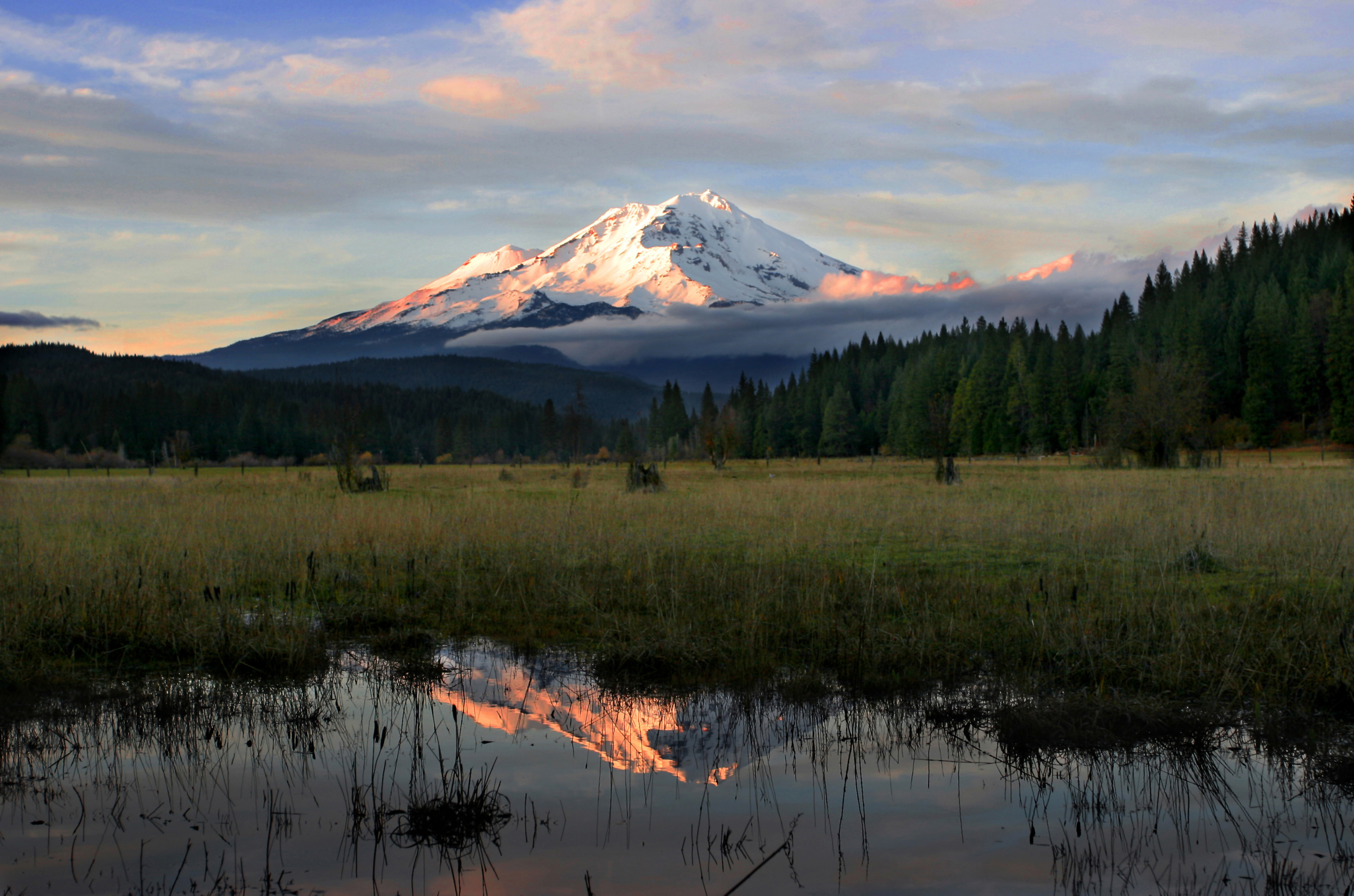 picture of mt. shasta at sunset